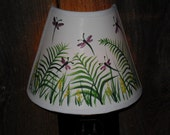 OOAK Hand Painted Night Light with Shade /nature/ dragonflies/palm trees
