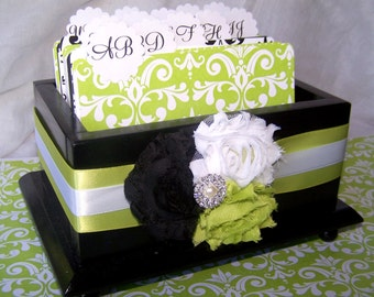 Guest Book Box - Black and White Damask, Lime Green and White, Custom stains are available