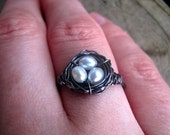 Bird's Nest Ring, Oxidized Sterling Silver with Ivory Pearls on Etsy, by CircesHouse--Great Baby Shower or Graduation Gift