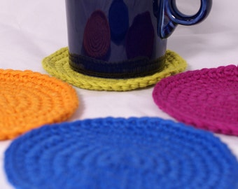 Ready to Ship Crochet Coasters or Cotton Scrubbies Set of 4 Modern Colors