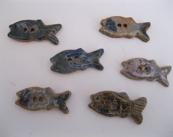Buttons stoneware fish shaped