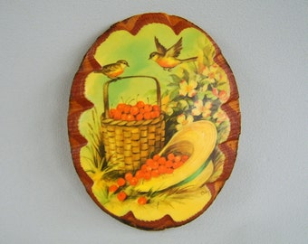 Vintage Coby Birds Cherries Print on Wood Plaque Aqua Yellow