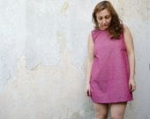 Backless Dress Mini in Purple Pink Cotton, Scoop Back Summer dress, Sundress