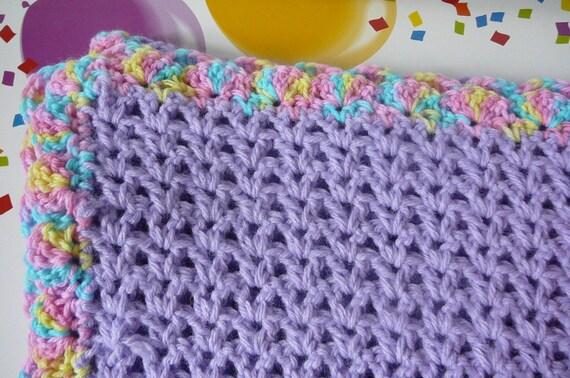 Crochet Pattern V Stitch Baby Blanket : Crocheted V Stitch Baby Blanket in Purple READY