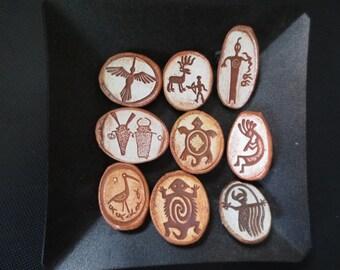 Set of Nine Refrigerator Magnets with Petroglyph Designs