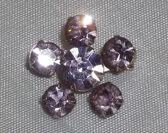Vintage Purple Lavender Glass Rhinestone Flower Brooch Small Lot of 2