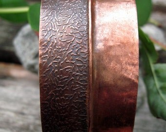 Textured copper fold form cuff custom made to fit