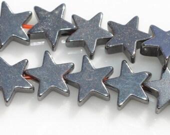 50 Hematite 6mm Star Beads BD876