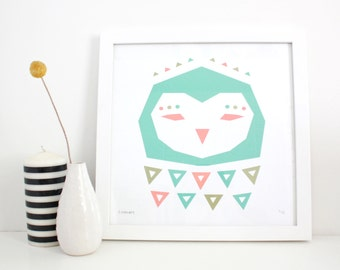 Owl Print, Screenprint, Geometric, Abstract, Modern