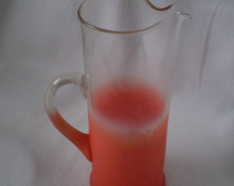 Vintage Funky Retro Glass Frosted Pitcher