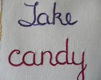 Take Candy from Strangers, Outsider Art, Hand embroidered, Modern Tapestry, Edgy Gift, Girlfriend gift