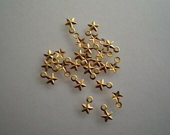 24 extra teeny tiny brass star charms