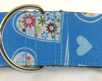 1.5 inch hearts greyhound martingale dog collar, blue, flowers, floral, valentine, colorful--Hearts-Blue