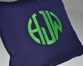 monogram custom embroidered pillow - Kelly green monogram on navy blue sunbrella