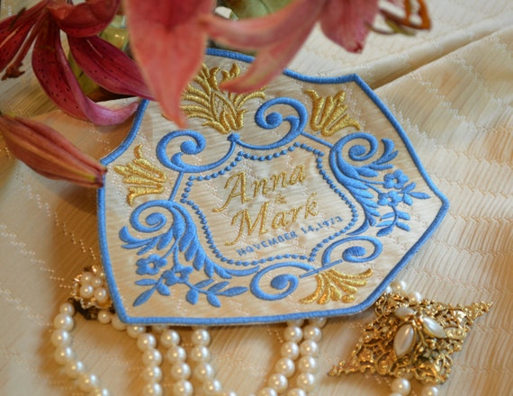 Custom Embroidered Wedding Dress Label French Gathered Silk  DOWNTON ABBEY COLLECTION - Alabaster - Princess Blue - Metallic Gold