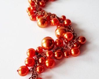 Copper pearl bracelet.  Cha cha bracelet.  Charm bracelet.