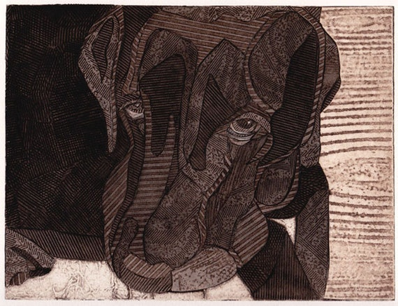 Black Labrador Retriever - hand pulled collograph art print of dog - The Look 7