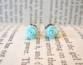 Tiny Baby Blue Flower Earrings
