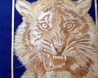 Handmade with hundreds of tiny pieces of rice straw! Tiger Orignal work of art.  Big Cat made of leaves of rice plant. Wild life. SALE. SALE