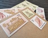 Golden Seashells .. Blush .. Vintage UNused Postage Stamps .. to post 5 letters