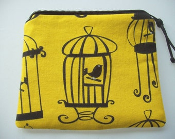 CLEARANCE-Handmade Cellphone Case Coin Purse or Zipper Pouch in Yellow and Black Birdcage Print