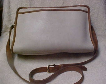 coach gray purse 7fh3  Large Coach purse in Beige leather and brown trim