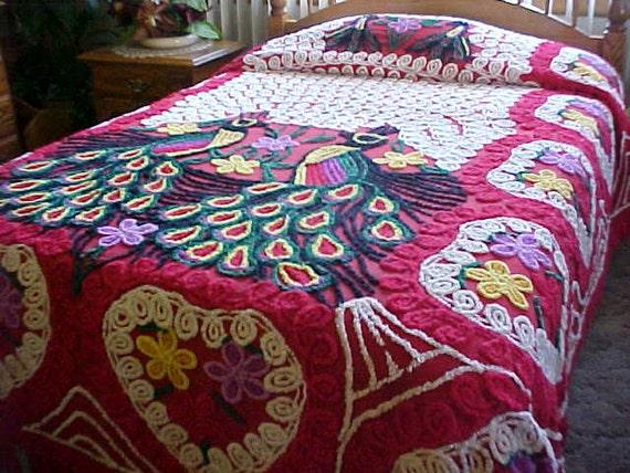 SALE: 1950 peacock chenille bedspread - 81.9KB