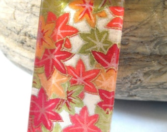As Gifted To Pretty Little Liars. Harvest Leaves Long Rectangle Pendant. Japanese Chiyogami Necklace. Asian Paper and Handmade Glass Tile.