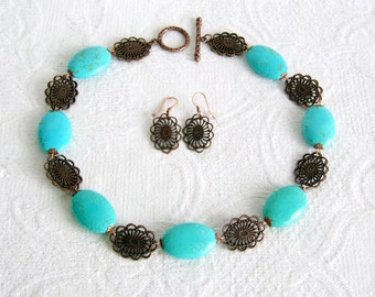 Turquoise and Copper Ovals Necklace