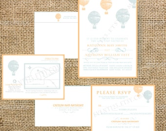 Wedding Balloon Invitation // Invitations with RSVP card and envelopes with return address printed