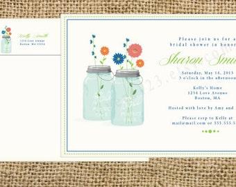 Custom Flower and Mason Jar Invitation   Wedding or Bridal Shower Invitation