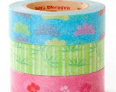 Rink Washi Masking Tape - Pine, Bamboo & Plum - Set 3 - Small Village