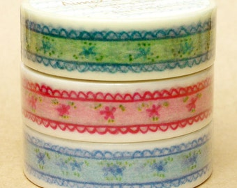 Aimez Washi Masking Tape - Floral Frill in Green, Red or Blue