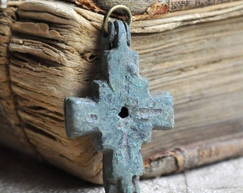 ANTIQUE cross that used to have holy relics sealed inside, coolvintage, metal patina cross, jewelry, X 744