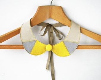 Leather Bib Necklace Yellow Gray Leather Collar Bib Necklace Peter Pan Detachable Collar