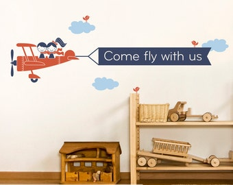 Kids Airplane Wall Decal Twin Seater Personalized Name Message Banner Baby Nursery Twins Boy Girl Sibling Decor