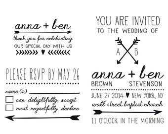 Arrows of Love Wedding Invitation, RSVP and Favor Stamps