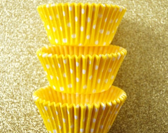 Yellow and White Polka Dot Cupcake Liners (50)