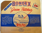 Vintage Bondex brand twill 1950s iron-on patches in original packaging