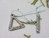 Handcrafted fine silver triangle toggle clasp