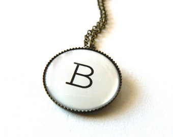 Personalized necklace. Initial, monogram jewelry. Holiday gift idea. Bridesmaid jewelry. Simple, round, rustic, industrial gift.
