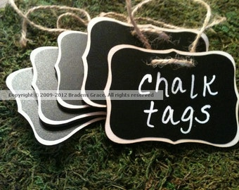 4 Fancy Wood Chalkboard Tags - Basket Labels, Chalkboard Tags, Wedding Chalkboards, Get Organized, Chalkboard Beverage Tags