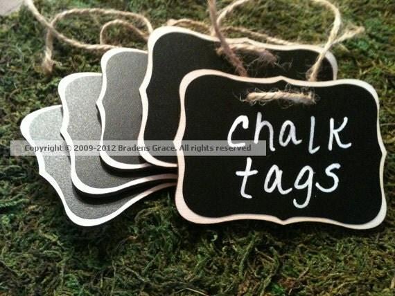 4 Fancy Wood Chalkboard Tags - Basket Labels, Chalkboard Tags, Wedding Chalkboards, Get Organized, Chalkboard Beverage Tags