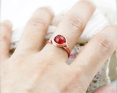 Inspiration - Red carnelian wire wrapped ring (SR)