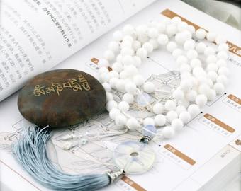 Pacifying 108 japa mala (JM) - quartzite, clear quartz and opalite