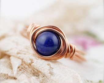 Inner peace - Lapis lazuli wrapped ring (SR)