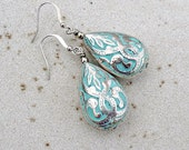 Drop Earrings - Aqua, Silver, Teardrop, Dangle, Light Weight, Large, Sky Blue, Bohemian, Gift for Her, Women's Gift,
