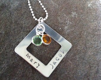 Personalized sterling silver mothers necklace with swarovski birthstones