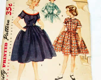 Vintage 1950s, Sewing Pattern, Simplicity 4412, Dress, Girl's Size 8