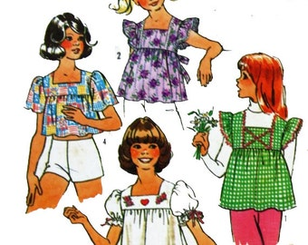 Vintage 1970s, Sewing Pattern, Simplicity 6912, Girl's Size 8 to 10 Tops , International Shipping